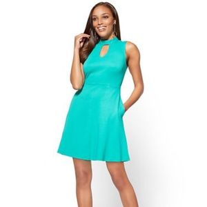 Cotton Halter Fit and Flare Dress-large